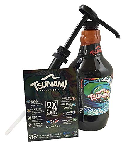 Tsunami Energy Drink Concentrate 64 Ounces with Pump and Mixology Recipe Card. Concentrate is Equivalent to 45 Cans of 8.4 Ounces