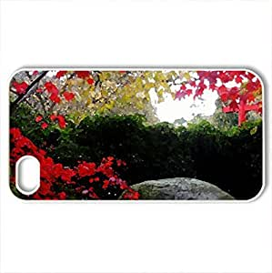 Autumn in park - Case Cover for iPhone 4 and 4s (Watercolor style, White)