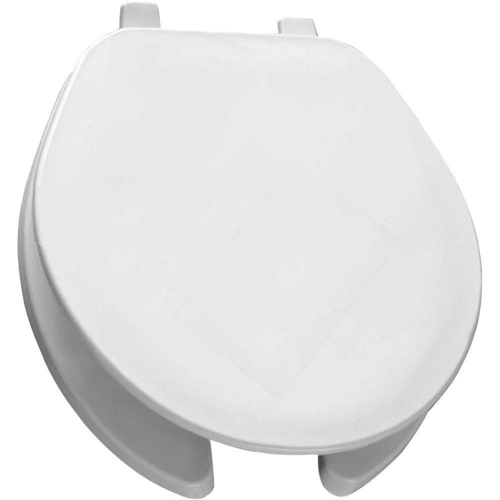 black and white toilet seat.  Bemis 75 000 Round Open Front Toilet Seat White Amazon com