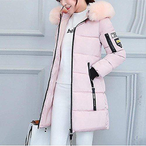Overcoat Korean Parka Warm Coat LHWY Jacket Pink Winter Style hooded Outwear Women's Thicker faux Long fur Slim PYwwqd1gU
