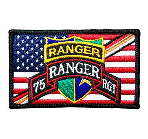 - US Army RANGER Regiment Tab Scroll Crest Flash Insignia on US Flag Cloth Badge Patch
