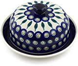 Polish Pottery 7½-inch Dish with Cover (Peacock Leaves Theme) + Certificate of Authenticity