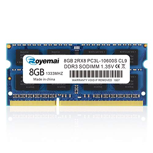 ROYEMAI 8GB DDR3 RAM, DDR3 1333 8GB PC3L-10600S DDR3L Sodimm 2Rx8 1.35V/1.5V CL9 Notebook RAM Memory for Laptop Computer