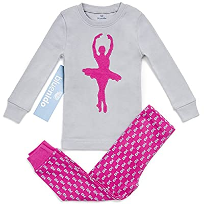 Bluenido Girls Ballerina 2 Piece Pajama 100% Super Soft Cotton (12m-7y)