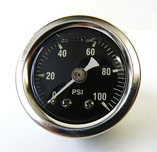 Mid-USA 100 PSI Oil Pressure Gauge 1/8'' NPT Fitting Motorcycle (88004)