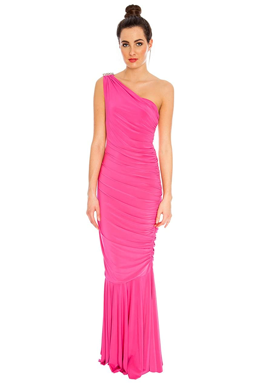 Goddess Diamante One Shoulder Ruched Figure Hugging Grecian Dress Party Cocktail