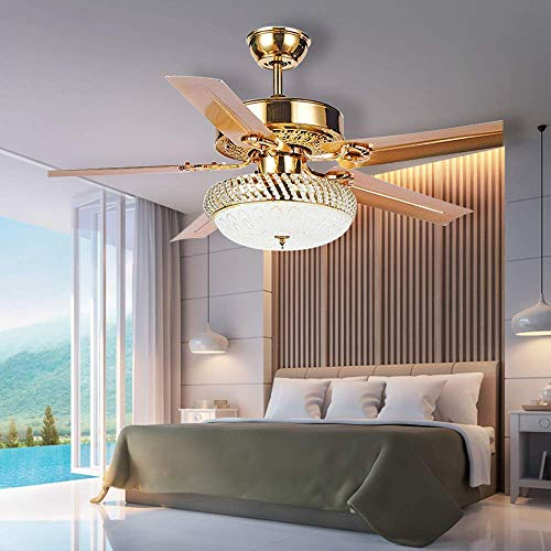 (RainierLight Modern Crystal Ceiling Fan Lamp LED 3 Changing Light 5 Reversible Blades Frosted Glass Cover with Remote Control for Indoor/Bedroom 52-Inch Mute Energy Saving Fan (Metal Blades))