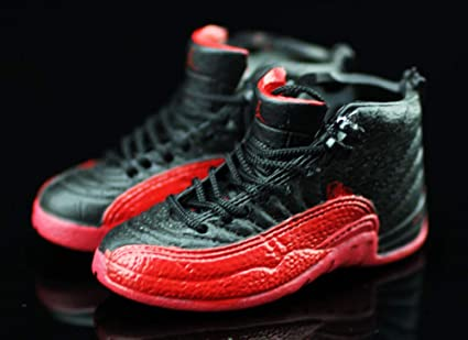 dbfb5aaa09a9df Amazon.com  Air Jordan XII 12 Retro Flu Game Black Red OG Sneakers Shoes 3D  Keychain Figure …  Everything Else