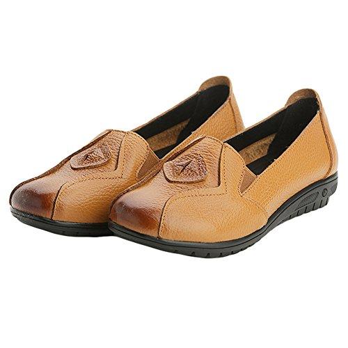 Btrada Femmes Respirant Conduite Mocassins Chaussures Casual Slip Sur Mocassins Chaussures Robe Bateau Plat Chaussure Jaune