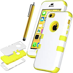 Pandamimi UlAK(?) Colorful Heavy Duty Hybrid Rugged Hard Case Cover For Apple iPhone 5C with Screen Protector and Stylus (White + Yellow)