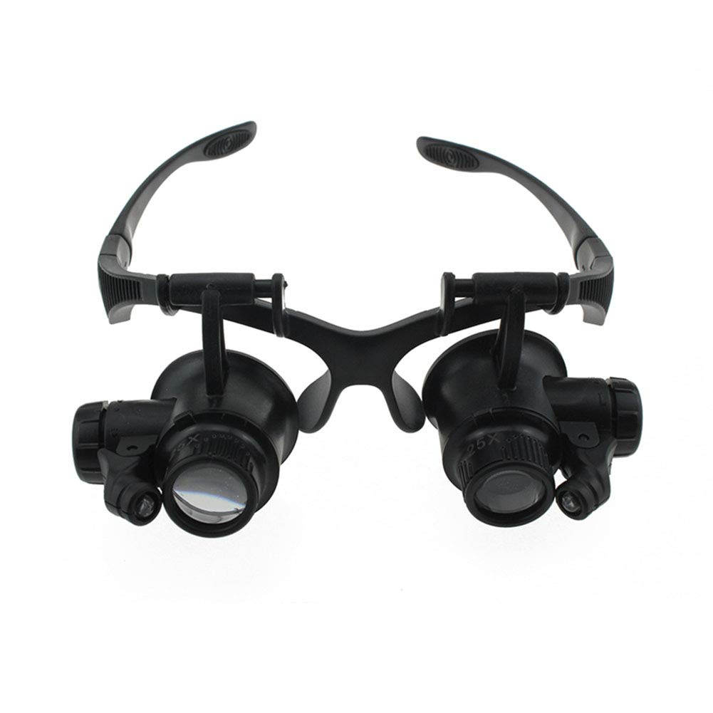 Headband Magnifier with 2Led Light, Head-Mounted Handsfree Reading Magnifying Glasses, Jeweler,Watch Loupe (10X, 15X, 20X, 25X) 4 Replaceable Lenses