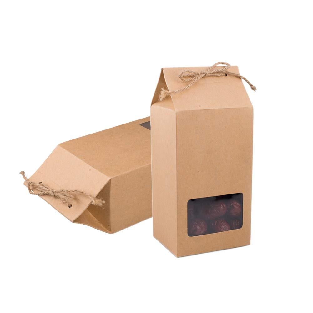 Syndecho - Juego de 24 bolsas de papel kraft para repostería, caja de alimentos, galletas, pufs, té, tuercas + cordel de yute: Amazon.es: Hogar