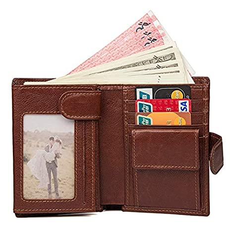Color : Brown, Size : S MUMUWU Mens Wallet Retro RFID Function Short Wallet with Buckle Mens Wallet Leather