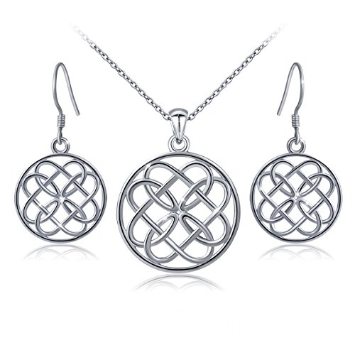 925 Sterling Silver Irish Celtic Knot Infinity Heart Love Knot Round Pendant Necklace and Earrings Jewelry - Set Celtic Jewelry