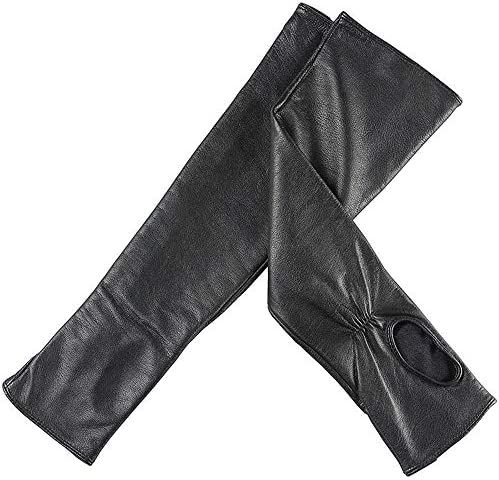 手袋 日常 実用 ロングアームウォーマードレスアップフィンガーレスグローブレザーエルボーロングフィンガーレスドライビンググローブ (Color : Black, Size : L)