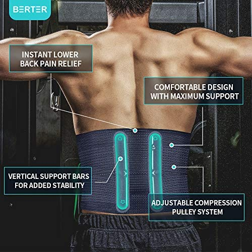 BERTER 腰用ブレース 腰痛緩和 男女兼用 腰椎サポートベルト 圧縮バンド付き 軽量 通気性 スマート 人間工学に基づいたデザイン
