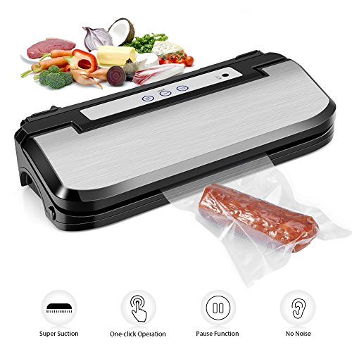 Vacuum Sealer Machine, Upgraded Ymiko Vacuum Sealer Sous Vide Machine Automatic Vacuum Sealing System, 8 Times Preservation with Manual Pause Function for Vacuum and Seal /Seal, with 15 Bags