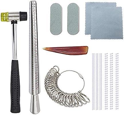 Juego de mandril de tamaño de anillo de Nipika para bisutería, incluye martillo de goma de joyería, medidor de dedo, tallas de los Estados Unidos 0 – ...