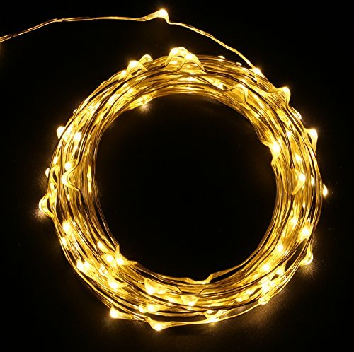 MineTom Fairy Starry String Lights 120 Micro Led's on Extra Thin Silver White w/UL Listed Adaptor, Indoor&Outdoor Use Copper Wire Lights for Holiday Decoration, 20ft Warm White …
