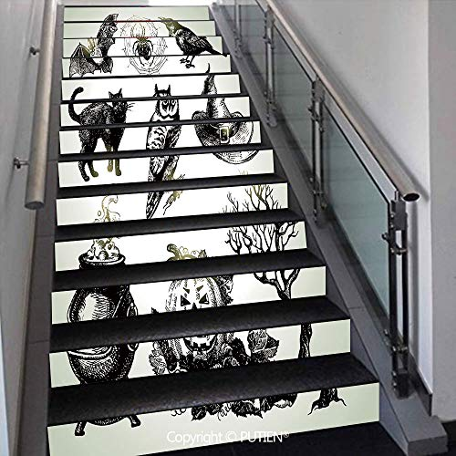 Fancy Stair Stickers Wall Stickers,13 PCS Self-Adhesive [ Vintage Halloween,Halloween Related Pictur