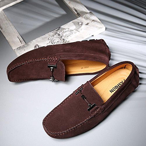 Mocassini Flat per taglia Shoes pelle 47 uomo Scarpe Handwork EU in Mocassini scamosciata Business Fino Mocassini vera da alla da Slip Vino Fashion guida pelle Suture Nhatycir barca on wqxt714BC