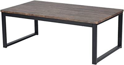 "Vintage Dark Coffee Black Metal Frame Cocktail Coffee Table 44"" Wide"