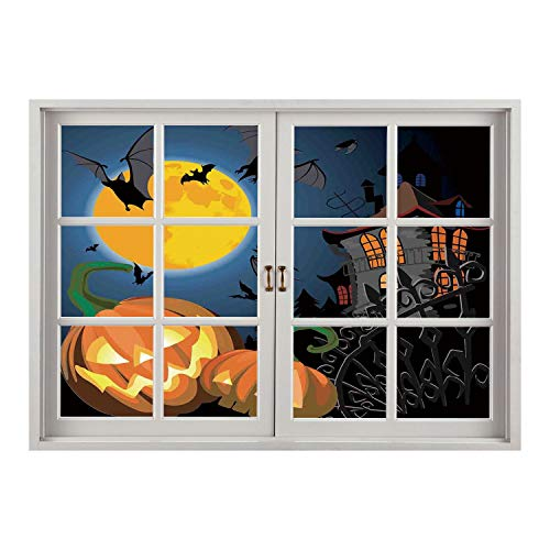 (SCOCICI Creative Window View Home Decor/Wall Décor-Halloween Decorations,Gothic Halloween Haunted House Party Theme Decor Trick or Treat for Kids,Multi/Wall Sticker)