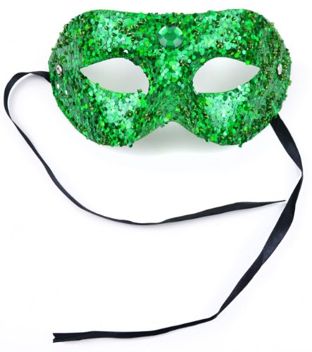 Mask It 71071 Green Bead/Glitter Half Mask