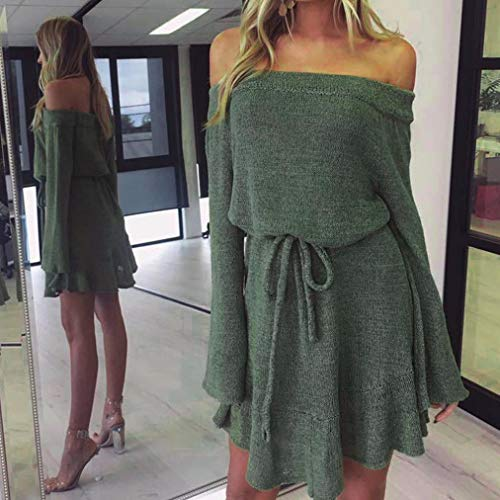 Sweater Womens Jumper Long Knitting Shoulder Casual Dress Green Sleeve Off Dresses KIMODO YwdSY