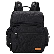 Lekebaby Diaper Bag Backpack with Changing Pad and Stroller Straps for Mom, Black