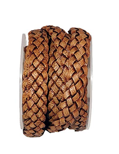 cords craft 12mm 5 Ply Flat Braided Genuine Leather Cord, Tan Color, Hand Braided, Roll of 2 ()