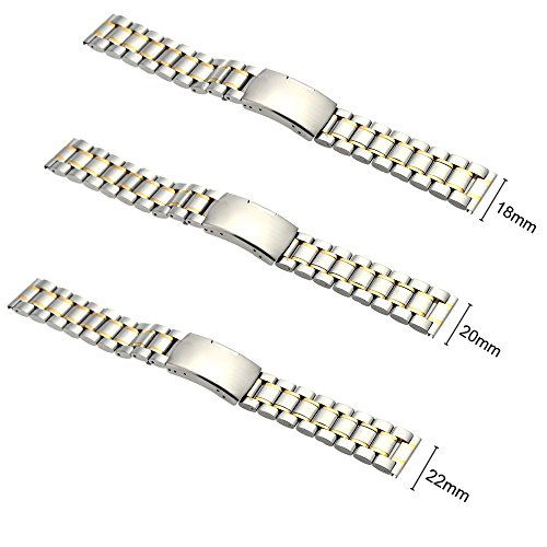 Signature@ High Quality Stainless Steel Watch Strap Plain End Watchband with Link Pins and Spring Bar Tool ()