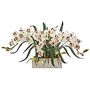 Nearly Natural 1563-WH Cymbidium Arrangement in White Vase Artificial Plant, 84