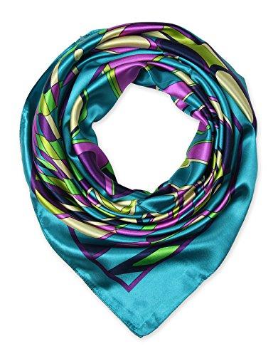 corciova Designer Satin Women's Big Square Neck Scarf Headscarfs 90 x 90 cm Geometric CG Blue