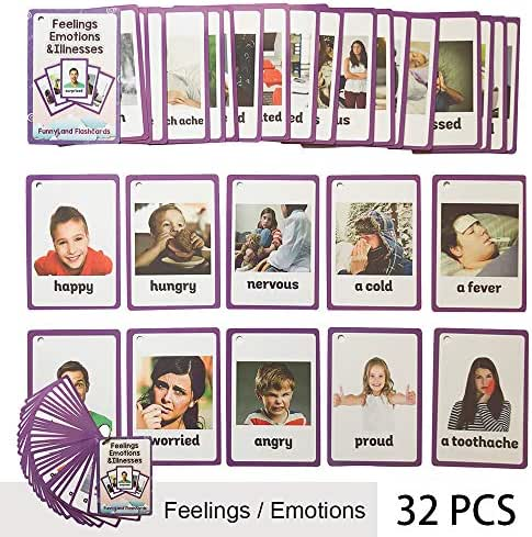 Richardy 32PCS/Set Feelings/Emotions/Illness Kids Gifts English Flash Cards Pocket Card Educational Learning Baby Toys for Children Pre-Kindergarten
