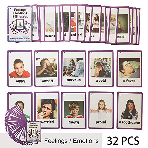 - Richardy 32PCS/Set Feelings/Emotions/Illness Kids Gifts English Flash Cards Pocket Card Educational Learning Baby Toys for Children Pre-Kindergarten