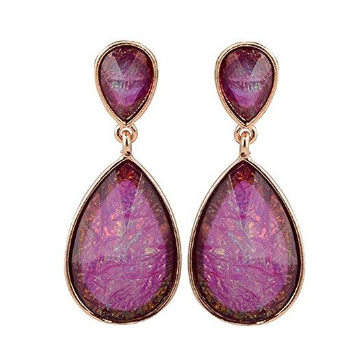Curved Barbell Illusion Earrings (Elakaka Alloy Resin Teardrop-Shaped Earrings(Purple))