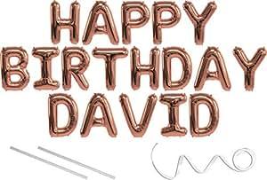 Amazon.com: David, Feliz Cumpleaños Mylar Globo Banner – 16 ...