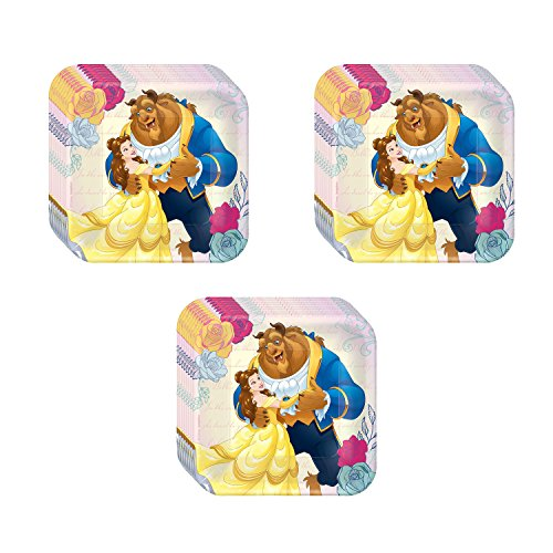 Beauty And The Beast Birthday Supplies (Disney Beauty and The Beast Party Dessert Plates - 24)
