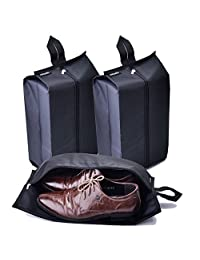 Shoe Bags,JoyFamily Nylon Waterproof Shoe Pouch Organizer with Zipper Closure for Traveling,Pack of 3(Black)