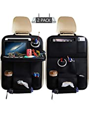 Car Back Seat Organizer with Foldable Table Tray, PU Leather Car Back Seat Organizer for Babies Toys Storage Bag with Foldable Dining Table Holder Pocket for Baby and Kids (2 Packs)
