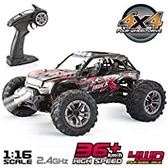 Features of the RC car Super fast- You will impressed with this 1: 16 scale electric RC rally car because the fastest speed is up to 36km/accurate 2. 4GHz Remote control-The monster car provides 60m/197ft remote control range multiple RC high...