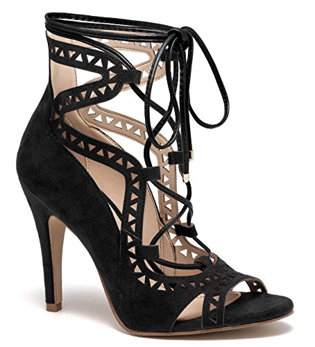 Andreas Robe Sanglée Gladiateur Haute Cheville Femme Stiletto Pep-toe  Chaussure Noire. chaussures  daim véritable  importé ... f69a1883012e