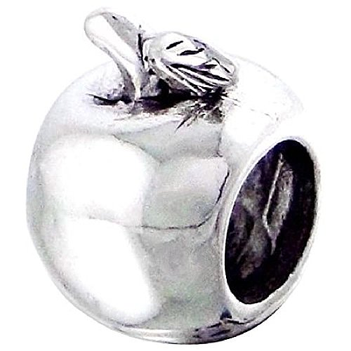 Chamilia Apple - So Chic Jewels - Sterling Silver Charm Bead - Apple Fruit - Compatible with Pandora, Trollbeads, Chamilia, Biagi