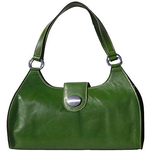 Borsa a mano Florina GM con doppi manici in pelle lucida e conciata al vegetale - 6418 - Borse in pelle Verde