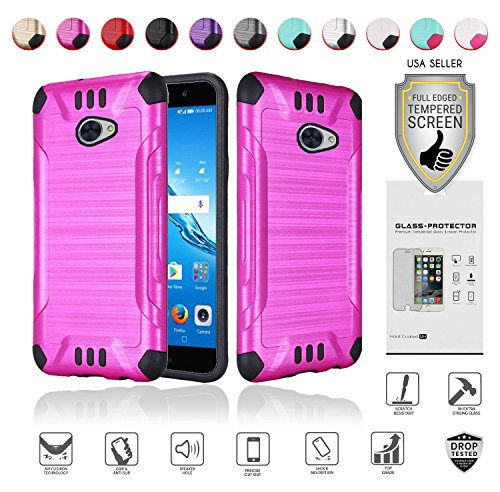 Huawei Ascend XT2 Case with Full Glass Screen Protector (2nd Version Only), Elate 4G Case, H1711 Case, Metallic Brushed Design Slim Hybrid [Shockproof] Armor Defender Case Cover (Hot Pink)