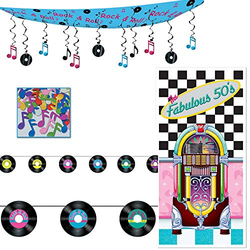 Fabulous 50s Door Cover Rock n Roll Ceiling Decor Record Streamer Music Note Confetti 4 Piece -