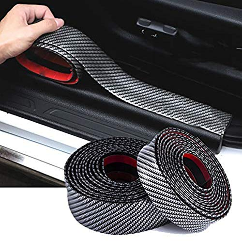 9 MOON Carbon Fiber Strips Car Door Guard Bumper Anti Scratch Trim Corner Protector Cover Universal Stickers Decals Auto ()