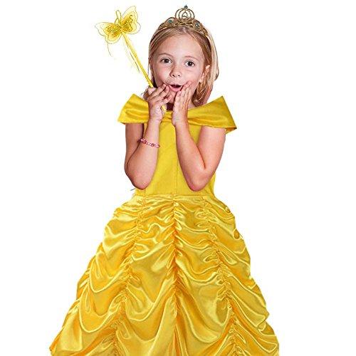 Princess Belle Off Shoulder Layered Costume Dress Fancy Party Dress for Little Girls (Fancy Party Dresses For Little Girls)