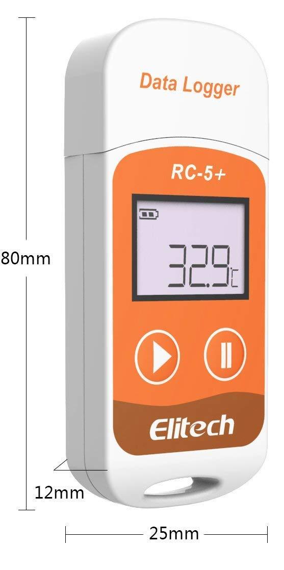 70/°C Registrador de Datos de Temperatura-generaci/ón autom/ática PDF-32000 puntos-Reutilizable-Protecci/ón de contrase/ña-No necesita software-Rango de temperatura -30/°C a Elitech RC-5+ 5 pcs